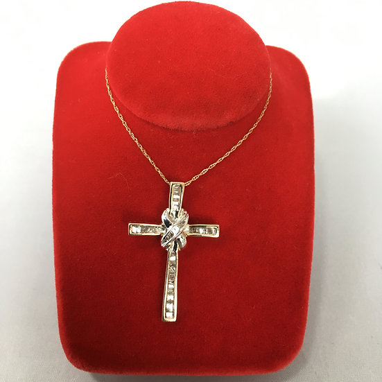 Diamond Baguettes Set in Two-Tone Gold Cross w/ Center Wrap COMES w/ FREE CHAIN