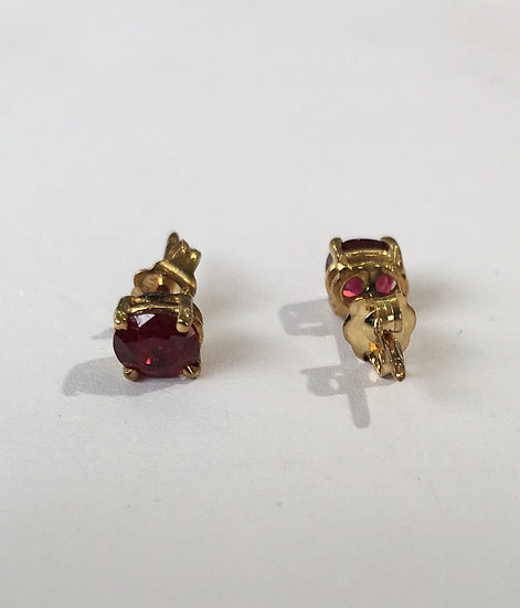 Pigeon Red Ruby Basket Prong Setting 14k Yellow Gold Gemstone Earrings