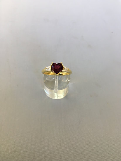 Pigeon Red Heart Shaped Ruby w/4 Diamond Baguettes 18k Yellow Gold Gemstone Ring
