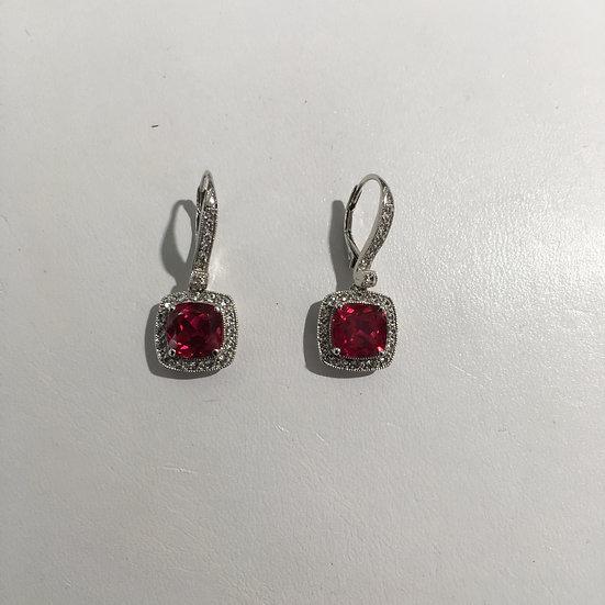 Ruby & Diamonds Halo Style Leverback Drop 14k White Gold Gemstone Earrings