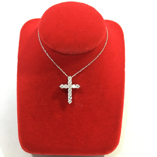 Prong Set Diamond Studded 14k White Gold Cross Pendant *COMES W/ FREE CHAIN!*