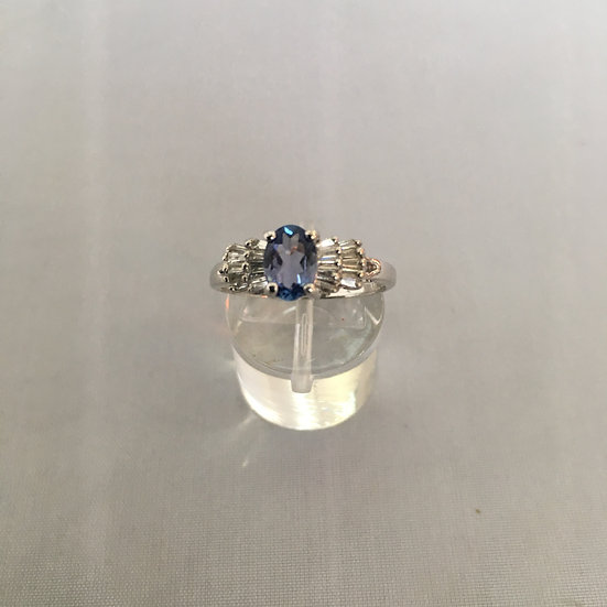Tanzanite Gemstone 14k White Gold Ring w/ Custom Diamond Baguettes Steps Design