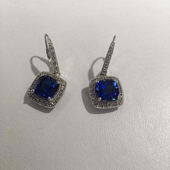 Tanzanite & Diamonds Halo Style Leverback Drop 14k White Gold Gemstone Earrings