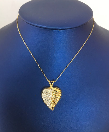 Half Diamond/Corrugated Split Heart 14k Yellow Gold Pendant w/ FREE YG BOX CHAIN