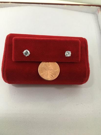 Round Cut Cubic Zirconia Sterling Silver Stud Earrings