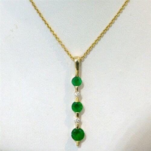 Past Present & Future Emerald & Diamond Pendant w/ FREE 14k Yellow Gold Chain