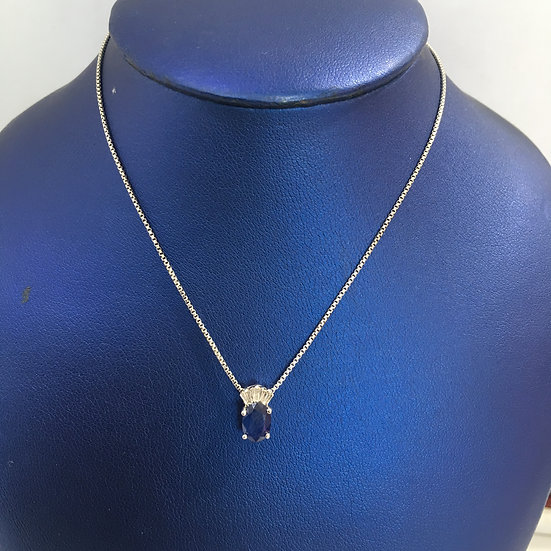 Oval Sapphire w/ Baguette Diamonds 14k White Gold Gemstone Pendant w/ FREE CHAIN