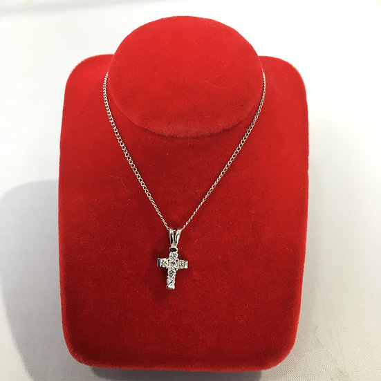 Small Diamond Studded 14k White Gold Cross Pendant *COMES w/ FREE 14KWG CHAIN*