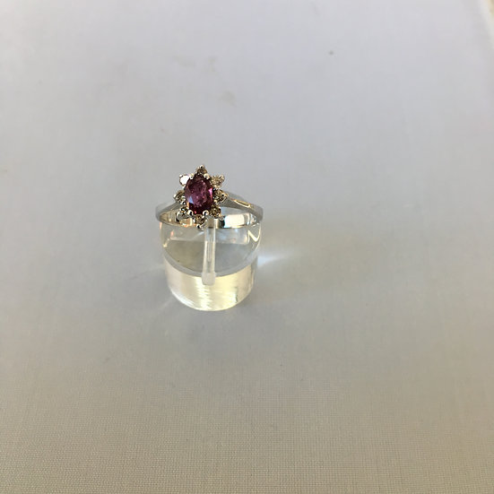 Cathedral Halo Oval Ruby Surrounded by Diamonds 14k White Gold Gemstone Ring