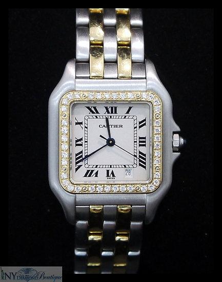 Cartier Panthere 11002 Two-Tone 18k YG/SS 26mm w/ Custom Diamond Bezel