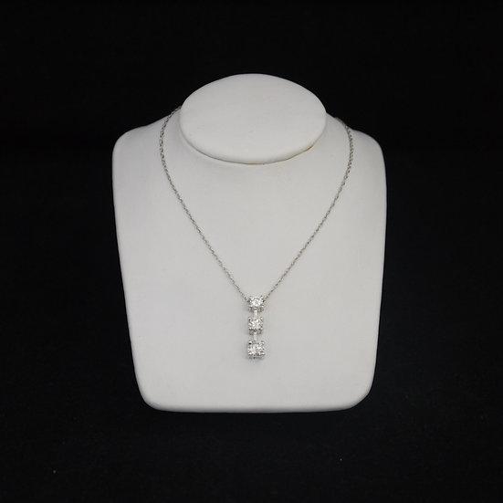 """14k White Gold Past, Present, & Future Diamond Pendant (comes w/ FREE 18"""" chain)"""