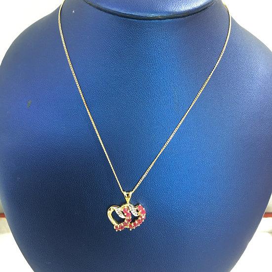 Yellow Gold Double Heart w/ Rubies & Diamonds Gemstone Pendant w/ FREE Box Chain