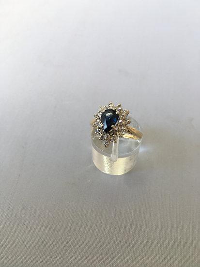 Pear-Shaped Sapphire w/ White Diamonds 14k Yellow Gold Gemstone Ring