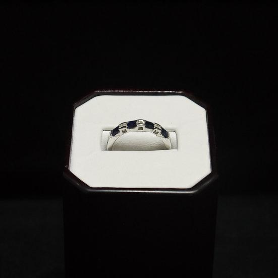 14k White Gold Band w/ Princess Cut Sapphires & Round Diamonds