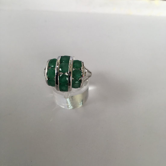 Three Row Channel Set Round Emeralds White Gold Gemstone Ring