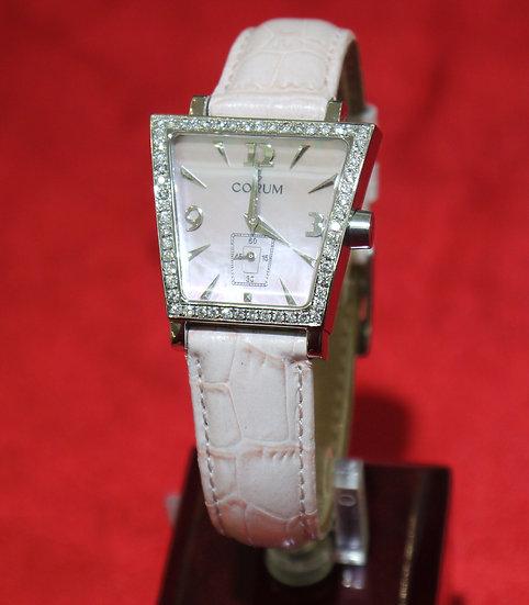 Corum Trapeze 105.404.20 w/ Full Diamond Bezel & Pink Crocodile Skin Band Watch