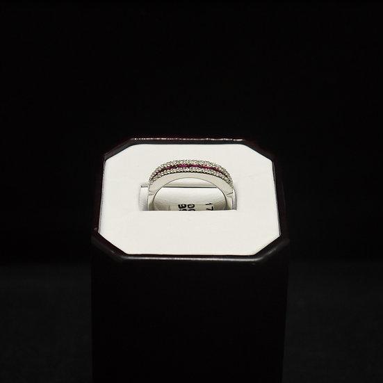Flat Top Ruby & Diamond 14k White Gold Wedding Band