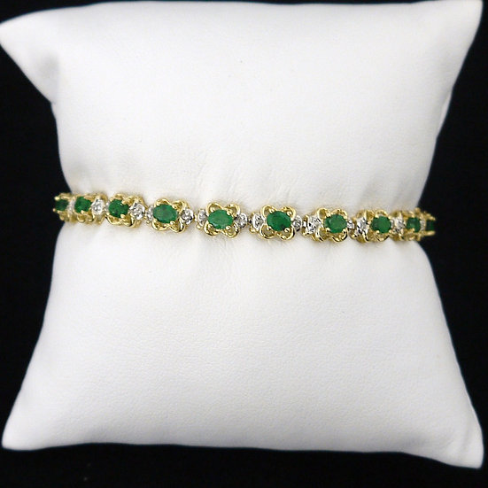 Oval Emeralds & Diamonds 14k Yellow Gold Gemstone Bracelet w/ Box Clasp & Safety