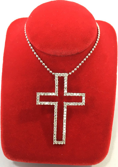 Bead Set White Diamonds Hollow Center 14k White Gold Cross *COMES w/ FREE CHAIN*