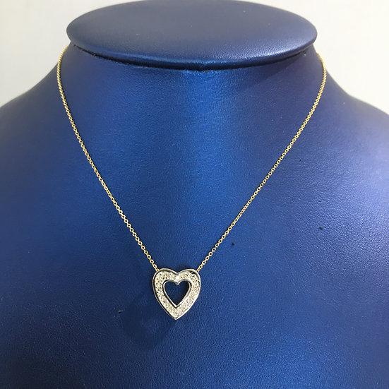 2-Sided Diamond & Sapphire Open Heart Yellow Gold Pendant w/ FREE YG BOX CHAIN