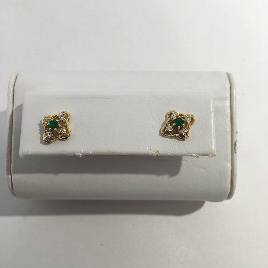 Floral Style Emerald & Diamond Gemstone 14k Yellow Gold Stud Earrings