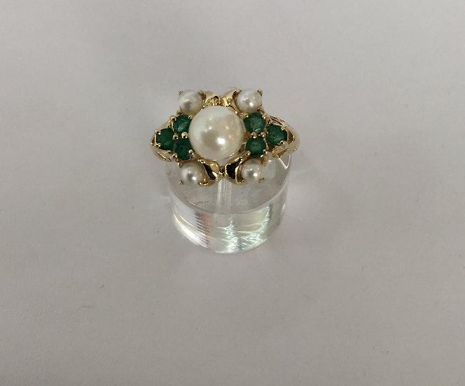 Emeralds & White Pearls Yellow Gold Gemstone Ring *May Birthstone*