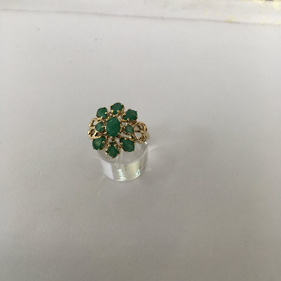 Floral Design Gemstone Yellow Gold Cocktail Ring w/ Round & Pear Shape Emeralds