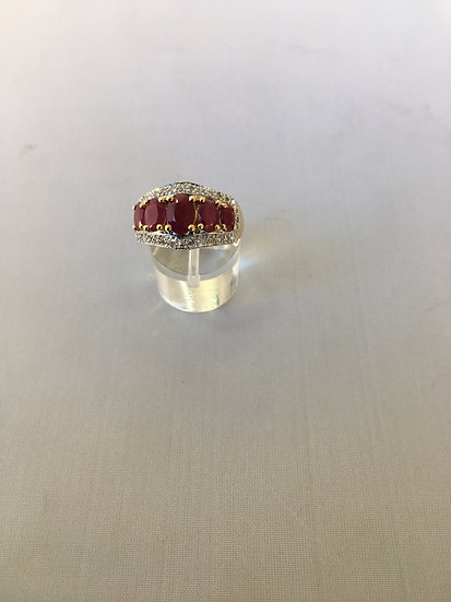 Yellow Gold Dome Style Gemstone Ring w/ 5 Red Rubies Surrounded by Diamonds