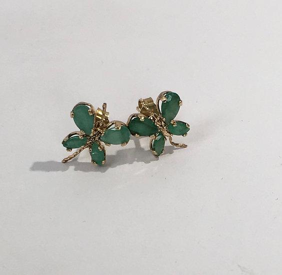 Emeralds in Butterfly Design 14k Yellow Gold Gemstone Stud Earrings
