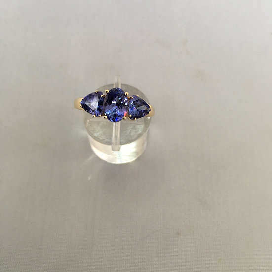 Past Present & Future Oval Trillion Cut Tanzanite 14k Yellow Gold Gemstone Ring