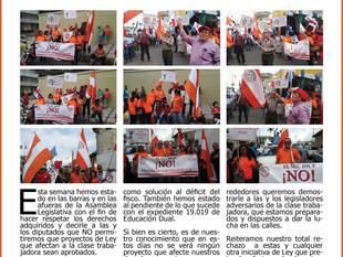 Seguimos la lucha contra los proyectos de ley que afectan a la clase trabajadora