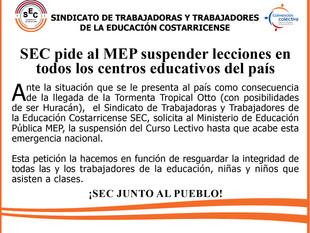 SEC pide al MEP suspender lecciones en todos los centros educativos del país