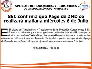 SEC confirma que Pago de ZMD se realizará el miércoles 6 de Julio