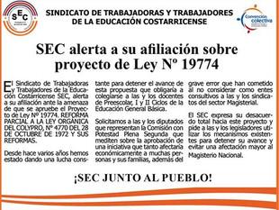 SEC alerta a su afiliación sobre proyecto de Ley Nº 19774