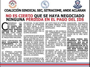 NO ES CIERTO QUE SE HAYA NEGOCIADO NINGUNA PÉRDIDA EN EL PAGO DEL IDS
