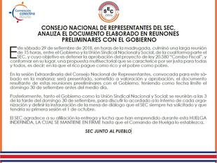 Consejo Nacional de Representantes del SEC, analiza el documento elaborado en reunones preliminares