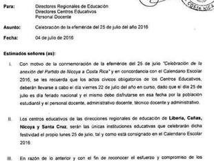 Actos cívicos del 25 de julio deberán realizarse el viernes 22