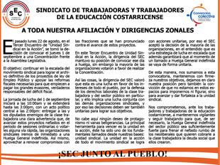 A TODA NUESTRA AFILIACIÓN Y DIRIGENCIAS ZONALES, SEC INFORMA