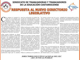 Respuesta al nuevo Directorio Legislativo