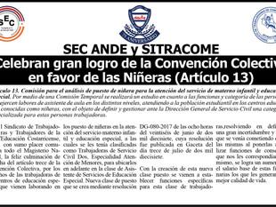 SEC ANDE y SITRACOME Celebran gran logro de la Convención Colectiva en favor de las Niñeras (Artícul