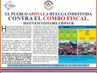 El pueblo apoya la HUELGA INDEFINIDA contra el COMBO FISCAL,según encuesta del CIEP-UCR