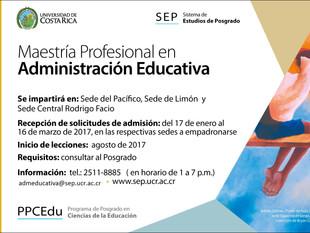 UCR abre matrícula para la Maestría Profesional en Administración Educativa
