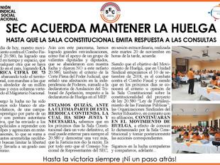 SEC ACUERDA MANTENER LA HUELGA hasta que la sala constitucional emita respuesta a las consultas