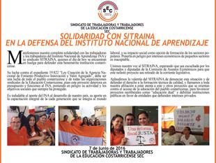 Solidaridad con SITRAINA en la defensa del Instituto Nacional De Aprendizaje INA