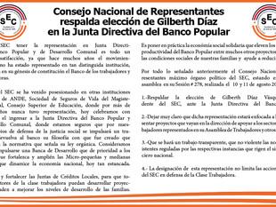 Consejo Nacional de Representantes  respalda elección de Gilberth Díaz  en la Junta Directiva del Ba