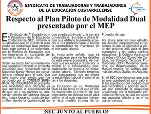 Respecto al Plan Piloto de Modalidad Dual presentado por el MEP