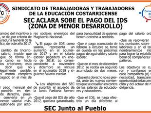 SEC ACLARA SOBRE EL PAGO DEL IDS (ZONA DE MENOR DESARROLLO)