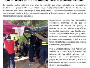 Comunicado de prensa Unidad Sindical y Social Nacional