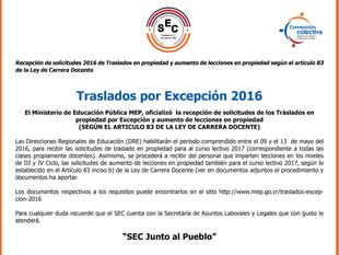 Traslados por Excepción 2016