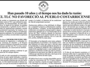Han pasado 10 años y el tiempo nos ha dado la razón: El TLC no favoreció al pueblo costarricense